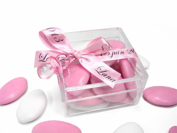 Boite drag es transparente rose - Boite de dragees bapteme ...