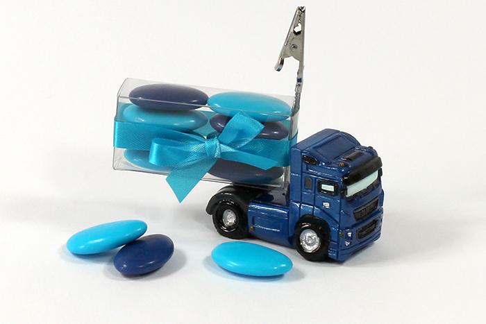 Porte nom camion bleu personnalisation bleu roy, turquoise
