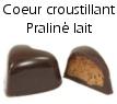 Chocolat coeur croustillant praliné lait