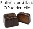 Chocolat cadeau praliné croustillant crèpe dentelle