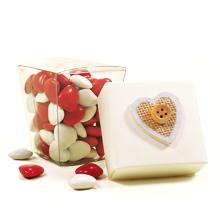 La boite transparente originale amour et ses dragées minis coeur St Valentin
