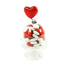 Le convive Cloche transparent dragées minis coeurs pour St Valentin