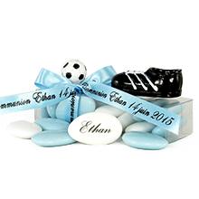 La boite de dragées au chocolat décoration chaussure et ballon football pour communion, anniversaire ou mariage