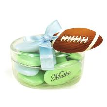 La boite ovale garni de dragées chocolat pour communion, baptême, mariage ou anniversaire
