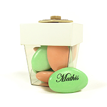 La mini boite de dragées décoration coeur pour baptême, mariage, communion ou anniversaire