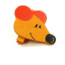 La pince souris couleur orange décoration contenant à dragées pour baptême