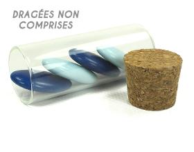 Petit contenant à dragées tube en verre à remplir - article vide
