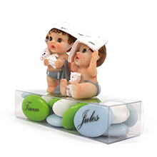 Le contenant à dragées bébés jumeaux et leur boite de dragées chocolat transparente pour baptême