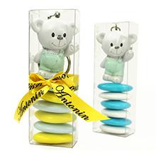Etui à dragées transparent décoration porte clé ours pour baptême garçon