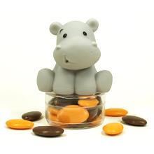 Le jouet de bain hippopotame gris et ses dragées chocolat pour baptême