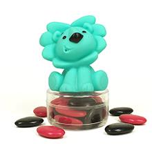 Le jouet de bain Lion turquoise et ses dragées chocolat pour baptême