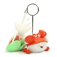 Le porte nom crabe et son sac de dragées chocolat couleur pour décoration baptême ou mariage thème plage