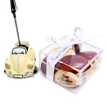 Le porte nom voiture 2CV et sa boite de dragées chocolat pour décoration mariage