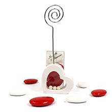 Le porte nom coeur blanc et sa boite à dragées transparente