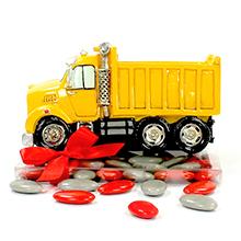 La tirelire camion de chantier jaune et ses dragées pour mariage