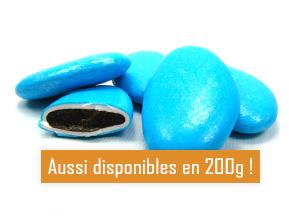 Les dragées au chocolat turquoise nacré pour mariage baptême ou communion