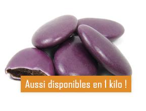 Les dragées au chocolat violet pour mariage baptême ou communion