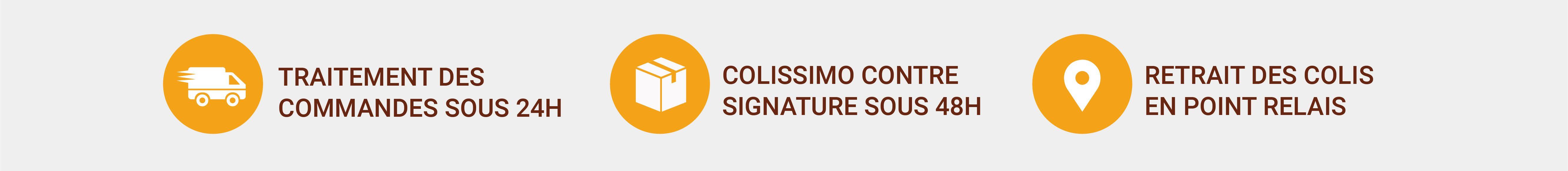 Traitement rapide 24h, envoi Colissimo et retrait en Point Relais