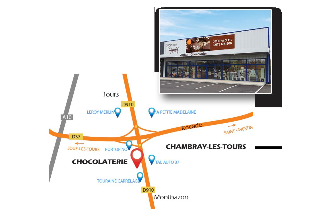Accès chocolaterie de Chambray lès Tours 37170