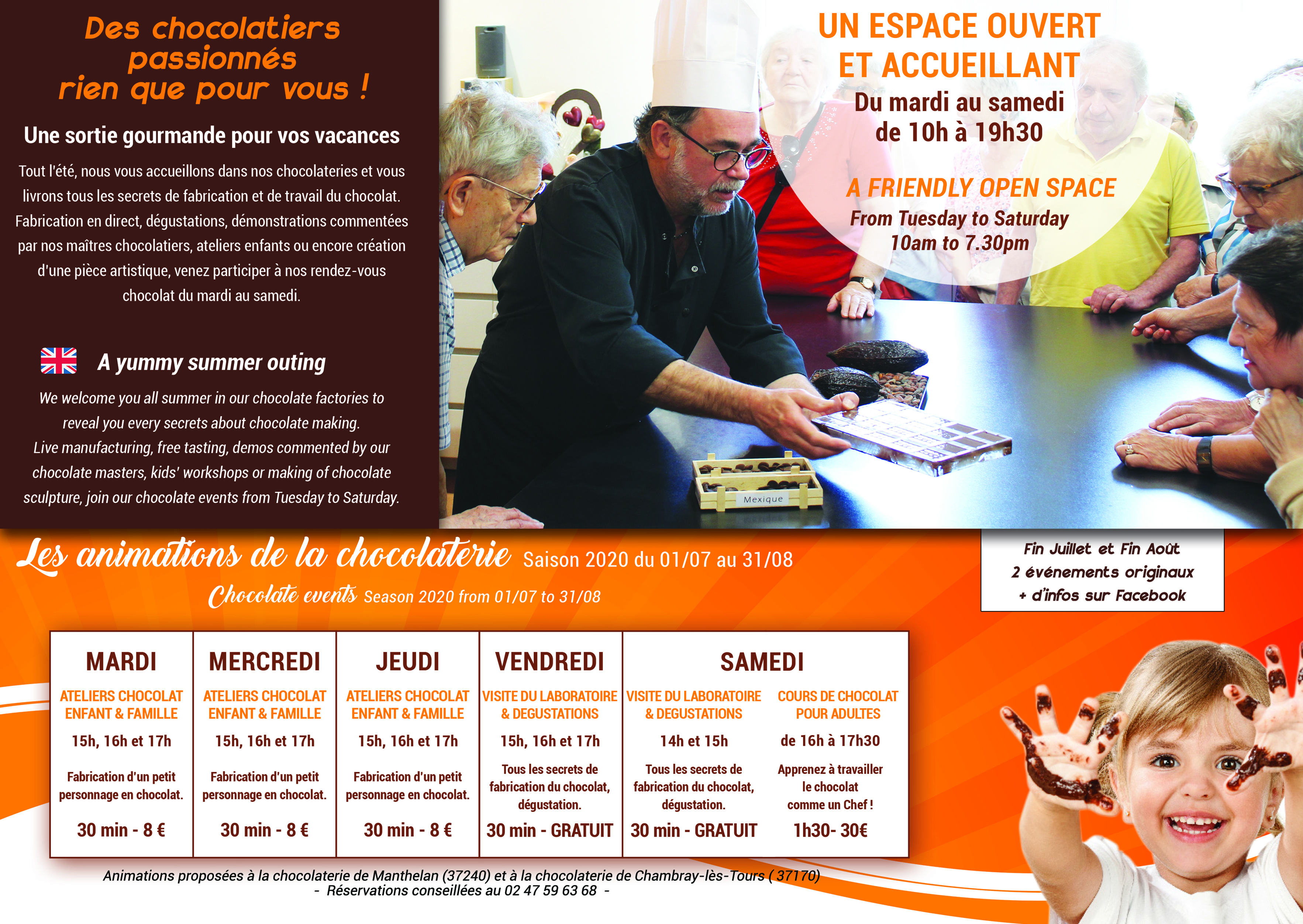 Programme été 2020 chocolaterie de manthelan