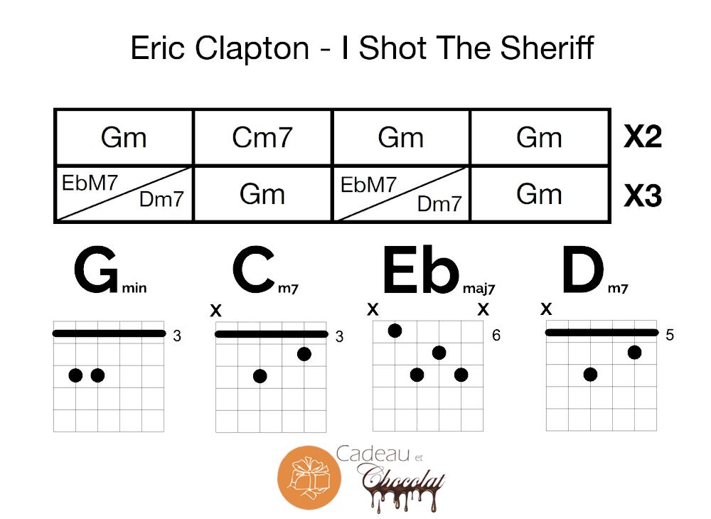 Grille d'accords Eric Clapton - I Shot The Sheriff - Musique et Chocolat