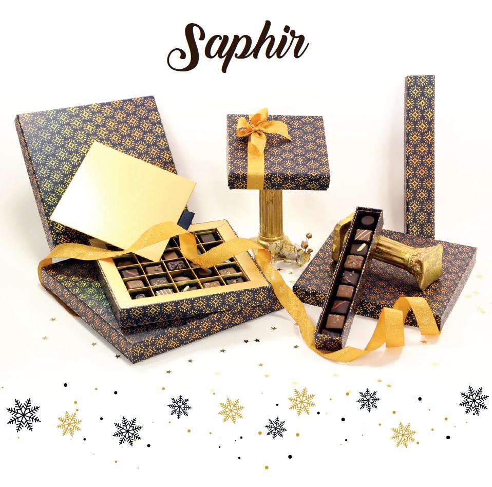 Collection Saphir - Boites de chocolats pour cadeaux d'affaire entreprise - Cadeau et Chocolat.com