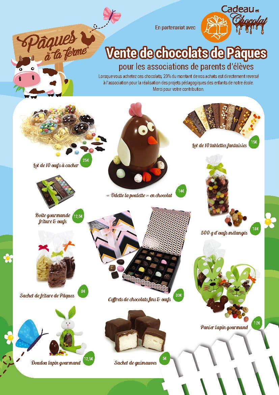Catalogue de vente de chocolat de Paques aux écoles et associations.