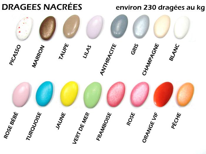 Nuancier de dragées couleurs nacrées chez Cadeau et Chocolat
