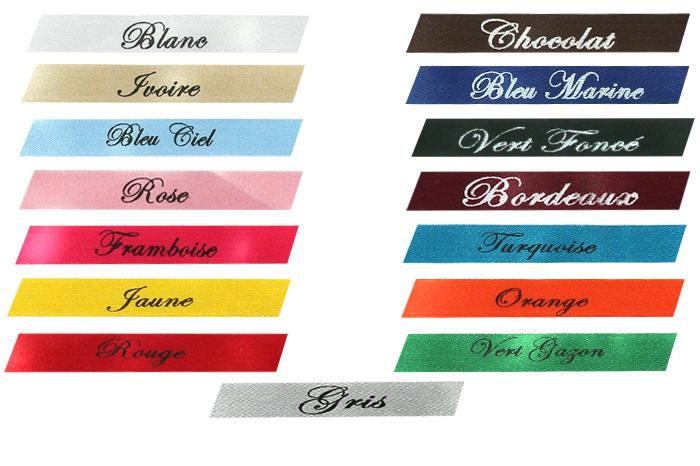 Nuancier des rubans imprimés pour les articles dragées de Cadeau et Chocolat