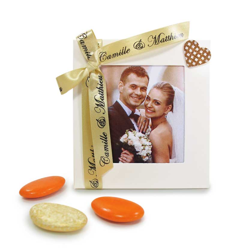 Contenant à dragées pour mariage avec cadre photo blanc