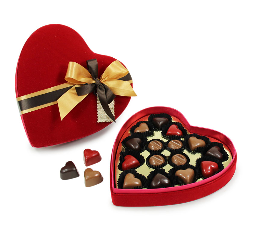 Coeur velours chocolat praliné pour la Saint Valentin