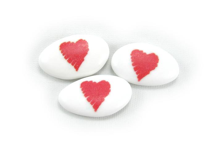 Dragées imprimées coeur pour mariage